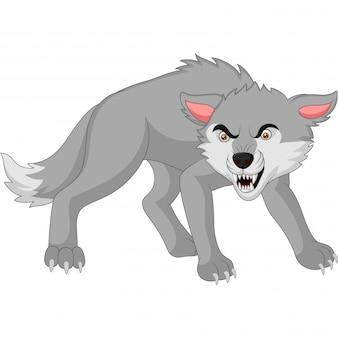 Lobo com raiva dos desenhos animados, isolado no branco