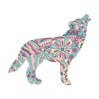 Lobo com um padrão abstrato