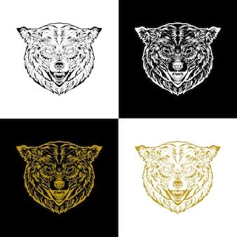Lobo de cabeça de ilustração