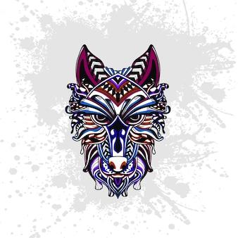 Lobo decorado com formas abstratas