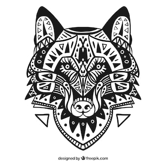 Lobo decorativo étnico