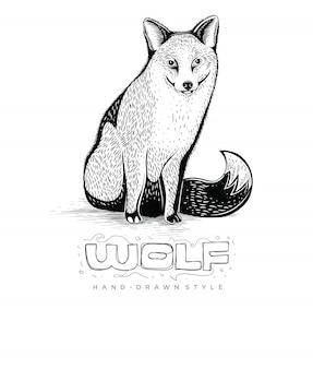 Lobo desenhado à mão, ilustração animal