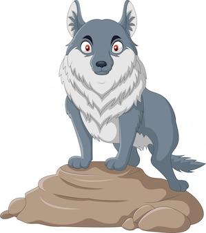 Lobo dos desenhos animados fica em uma rocha