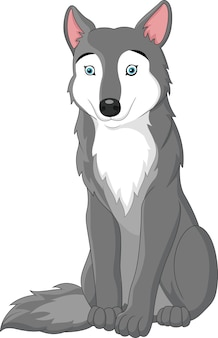 Lobo dos desenhos animados isolado no fundo branco