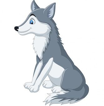 Lobo dos desenhos animados, sentado no branco
