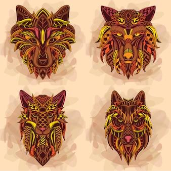 Lobo em cores quentes