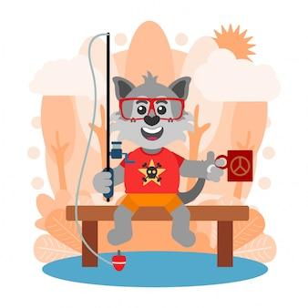 Lobo engraçado pesca no lago