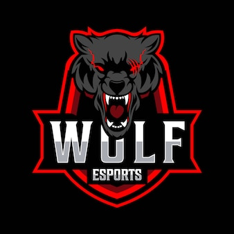 Lobo esport logotipo modelo