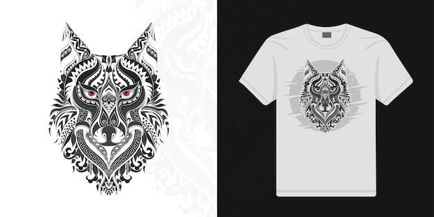 Lobo estilizado em vetor étnico de fundo branco