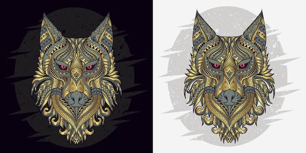 Lobo estilizado em vetor étnico de fundo preto e branco