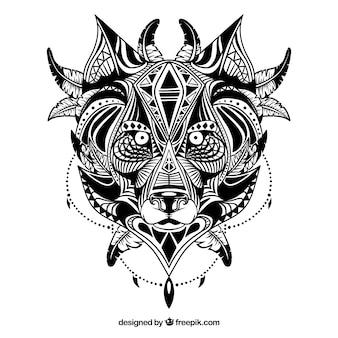 Lobo étnico ilustrado