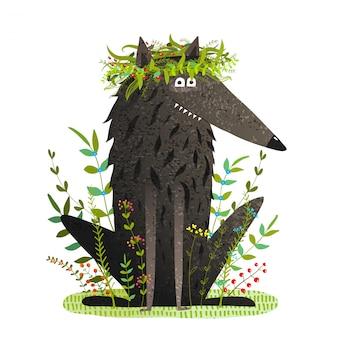 Lobo fofo amigável preto sorrindo na grama