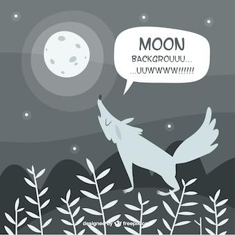 Lobo fundo uivando para a lua