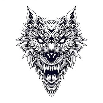 Lobo ilustração étnica e design de tshirt
