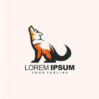 Lobo impressionante logotipo design ilustração