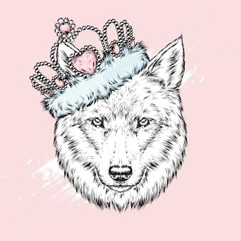 Lobo lindo usando uma coroa