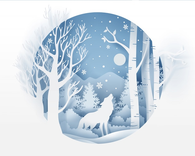 Lobo na floresta com neve na temporada de inverno