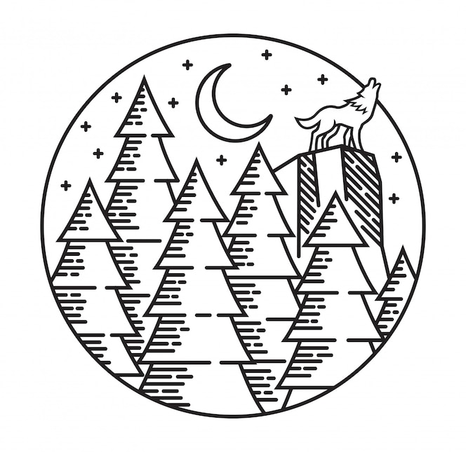 Lobo na ilustração da linha de floresta