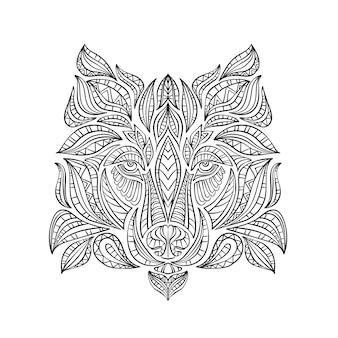 Lobo pintado com estilo boho