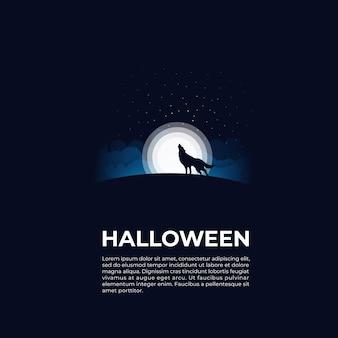 Lobo preto com fundo de lua cheia