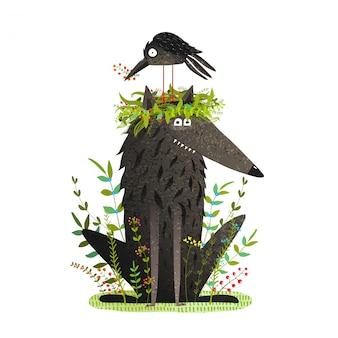 Lobo preto e corvo sentado na cabeça amizade