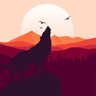 Lobo que urra o fundo