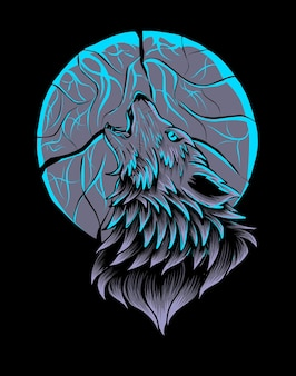 Lobo rugindo na lua