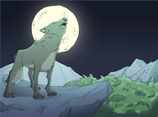 Lobo rugiu sobre as falésias com ilustração de lua cheia