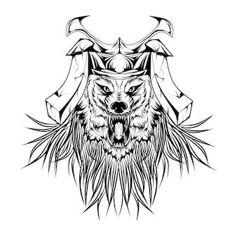 Lobo samurai em preto e branco