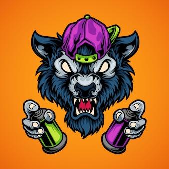 Lobo segurando tinta spray