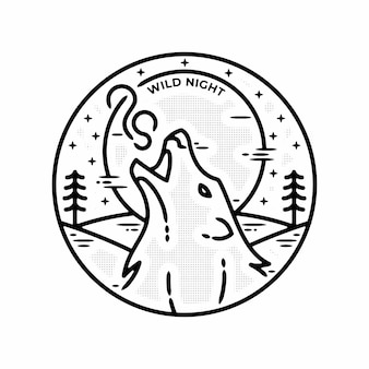 Lobo selvagem noite minimalista logotipo vintage emblema modelo ilustração monoline vetor premium