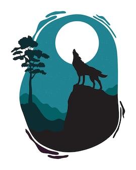 Lobo uivando cena da fauna selvagem