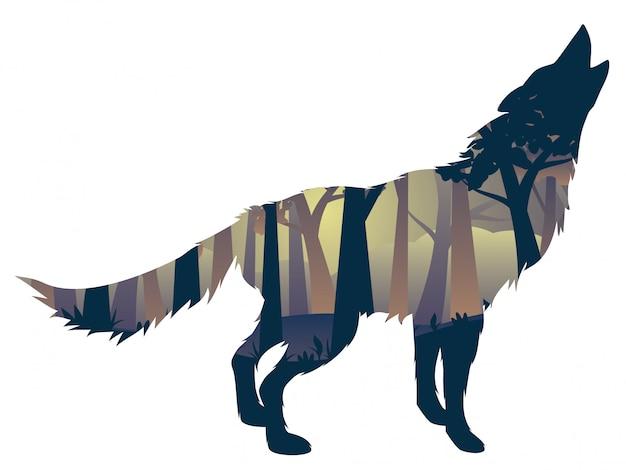 Lobo uivando com floresta