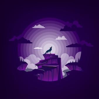 Lobo uivando na montanha na noite de lua cheia.