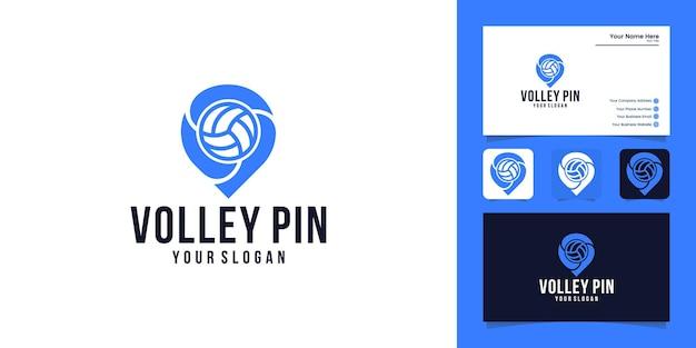 Locais de esportes design de logotipo de vôlei e cartão de visita