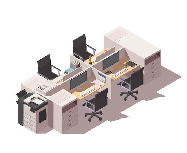 Locais de trabalho de cubículo de escritório com impressora e computadores
