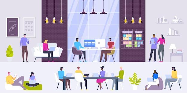 Locais de trabalho modernos criativos do interior do escritório.