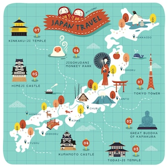 Locais históricos em lindo mapa