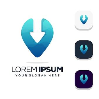 Local com design de logotipo de seta