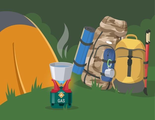 Local de acampamento na floresta com ilustração plana de equipamentos