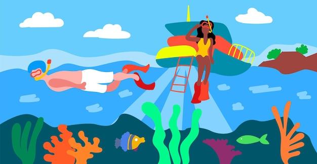 Local de referência, grande barreira de recife. mergulho com snorkel em grande barreira de recife panorama do mar no verão