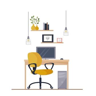 Local de trabalho, área de trabalho. interior moderno do escritório. escritório com computador.