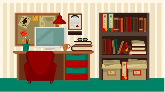 Local de trabalho confortável em casa colorida ilustração em vetor plana