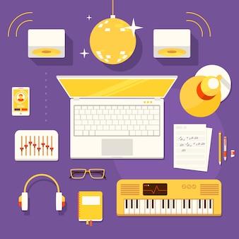 Local de trabalho criativo do músico