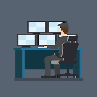 Local de trabalho da mesa do monitor da câmera da sala de segurança estilo simples trabalho profissional moderno relacionado a objetos de trabalho de homem. vitrine caixa telefone laptop pc estoque. coleta de trabalho de pessoas.