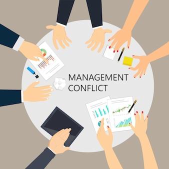 Local de trabalho de conflito de gestão em uma ilustração de reunião com dinheiro