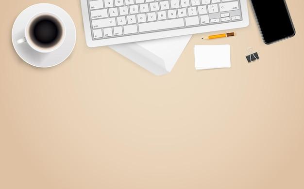 Local de trabalho de escritório com acessórios de negócios diferentes. modelo para um texto