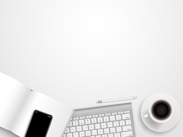 Local de trabalho de escritório com diferentes acessórios de negócios. modelo para um texto