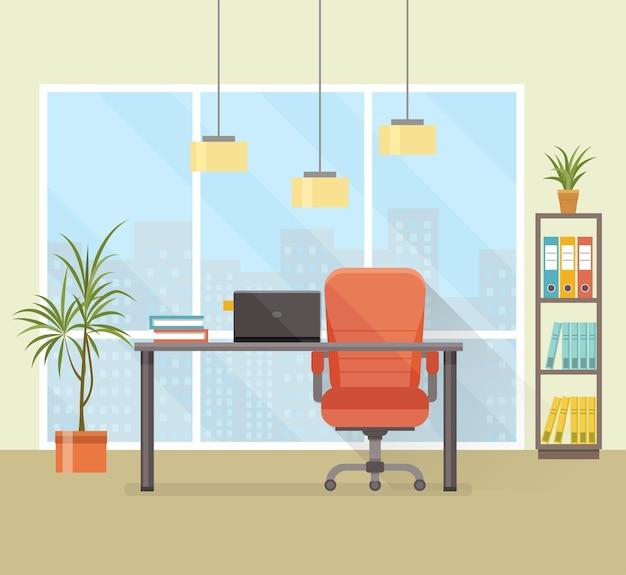 Local de trabalho de escritório com janela de estante de mesa. ilustração em vetor plana