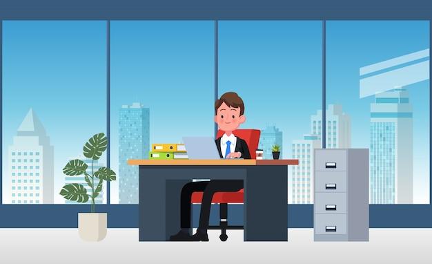 Local de trabalho de escritório com mesa. homem de negócios ou um balconista trabalhando em sua mesa de escritório. ilustração plana.